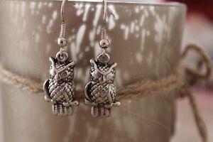 Ohrringe Eule Uhu Vogel  Ohrhänger  Anhänger Silber