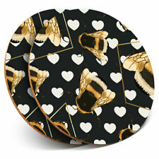 2 x Coasters - Art Deco Gold Bumble Bees Fun Home Gift #2255