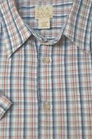 Jos A Bank Men's White Red Gray Check Cotton Casual Shirt L Large