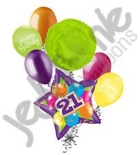 7 pc Bright & Bold 21st Happy Birthday Balloon Bouquet Purple Star Party Decor