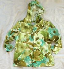 Caribbean Joe Full Zip Hooded Jacket Women's Medium Green Blue Floral Leaves EUC