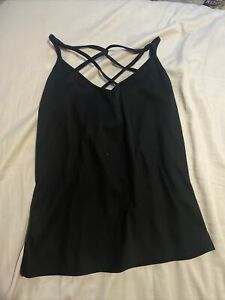New Black Strappy Cami Vest Top Caged Cross Over Straps Size 12