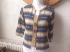 ❤️❤️❤️Per Una @ M & S UK 14 Blue/Brown Cardigan-big button Detail BNWT