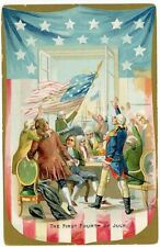 The First Fourth of July  antique Raphael Tuck patriotic postcard