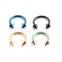 """4pc 14G 3/8"""" Titanium Plated Steel Spiked Horseshoe Circular Barbell Ear Labret"""