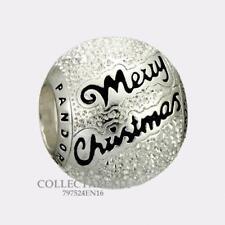 Authentic Pandora Sterling Silver Black Enamel Merry Christmas Bead 797524EN16