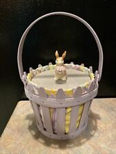 Longaberger Basket Combo 2006 Easter Picket Pail Liner Protector Lid With Bunny