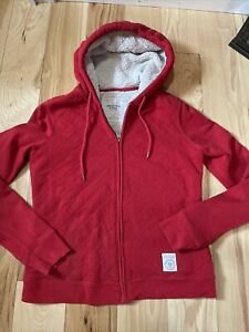Abercrombie & Fitch Sherpa Lined Hoodie Jacket Sweatshirt Red Women Large Fur