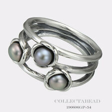 Authentic Pandora Silver Three Wishes Grey Pearl Ring Size 54 (7) 190606GP