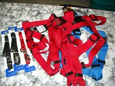 """New listing Lot of 4 Dog Harness & 3 Leashes Nylon 9""""-18"""" New 4 Ft"""