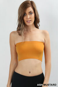 Tube Top Bra Seamless Bandeau Strapless Bralette Stretch Layering Solid Crop Top