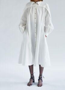 * CELINE * RUNWAY S/S 17 WHITE COTTON DRESS  COAT (38) Phoebe Philo 2017