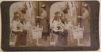 Famille Neonato Scena Da Genere Foto Stereo Vintage