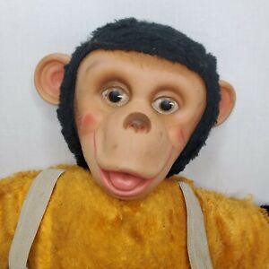 "Vintage 50s Mr Bim Zip The Chimp Plush Stuffed Monkey Rubber Face Zippy 16"""