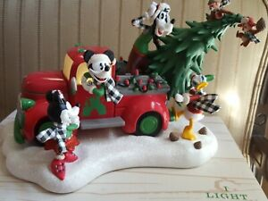 Disney Parks Christmas Holiday 2019 Red Truck Figurine Lights Up - NEW