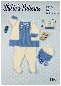 Knitting Pattern for Baby Jacket, Leggings and Hat, Baby Knitting Pattern,0 t...