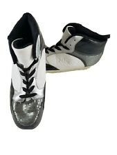 Womens Gia-Mia Dance Silver Black White GS4X High Top Tennis Sequins Shoes 12