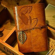 Vintage Classic Retro Leather Leaf Notepad Notebooks Blank Journal Diary YLW GA