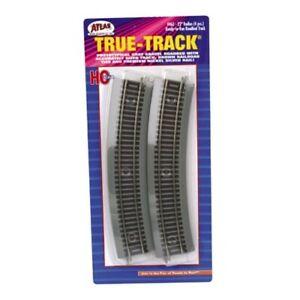 "Atlas 463 HO Scale Code 83 22"" Radius Curved True-Track (4) Gray Bed /Nickel Slv"
