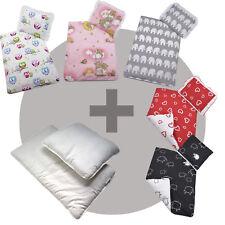 4 tlg. SET für Kinderwagen Garnitur Bettwäsche Decke+Kissen+Füllung 50 FARBEN