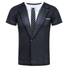 New T-Shirt Men/Women 3D Fake Two Pieces Style Suit Print With Tie Summer Style