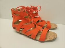 SAM & LIBBY Sz 8 Orange Sandals Ankle Tie Strappy Cork Heel Flat