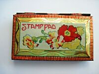 "Vintage Tin Titled ""Stamp Pad"" w/ Art Deco Colors and Flowers *"