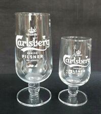 2 New Style Carlsberg Pilsner Lager Beer Glasses 1 x Pint & 1 x Half Pint - NEW