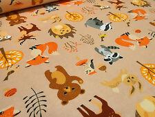 Stoffrest 15x150cm BW Jersey Hirsche Füchse Bären Eulen orange braun Kinderstoff