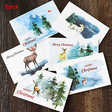 6pcs Watercolor Merry Christmas Greeting Card party Birthday Invitation Gift  gt