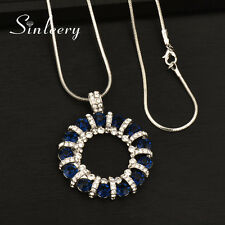 Trendy Dark Blue Crystal Hollow Round Pendant Long Necklace Snake Chain For Lady