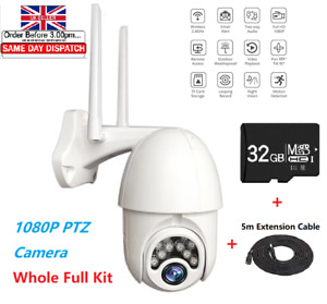 1080P IP Wireless WIFI Camera Outdoor CCTV HD PTZ Smart IR Cam Home Security UK
