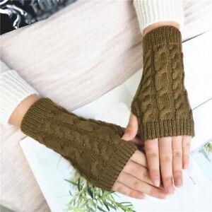 Fashion Unisex Men Women Knit Fingerless Winter Gloves Soft Warm Wool Mitten