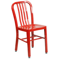Metal Dining Chair - Red