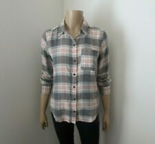NWT Abercrombie Womens Plaid Flannel Shirt Size XS Gray & Pink