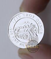 "1/10 oz 999 Fine Solid Silver Bullion Art-Round/Coin, 3.1 Grams "" STEAM TRAIM """