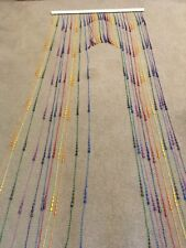 """Vintage Beaded Door Curtain--Multi Colored-- 32"""" long bar x 79"""" longest section"""