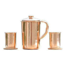 100% Pure Copper Handmade Jug Water Pitcher 1.5 L With 2 Glasses Storage healthy