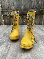 HUNTER 'Festival' lace up Yellow 💛 rubber rain boots Womens  Sz 5
