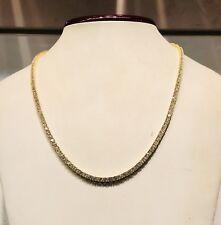 14K Yellow Gold Over 925 - 19 Carat Round Cut VVS1/D Diamond Tennis 3mm Necklace