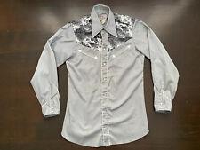 Vintage H Bar C Gray Pearl Snap Western Shirt Fury Yoke Fits Mens S/M USA 80s