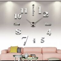 Grand Silence Trendy DIY 3D Horloge Murale Pendule Montre Art Decor Salon Maison
