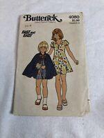 Vintage Butterick Sewing Pattern 4080 Girls Cape  & Dress 1970's Size 4