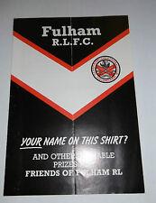 Friends of Fulham R.L.F.C. Leaflet 1985 - 1986