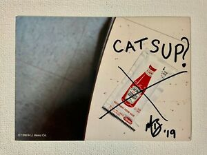Heinz 57 Tomato Ketchup Art Catsup Mixed Media Photo Postcard Signed By Artist