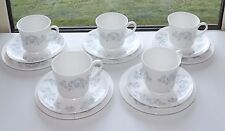 Royal Tuscan China Cups Saucers Plates, 5 x Trios Pale Blue Floral