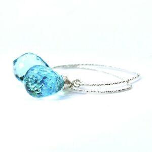 Light Sky Blue Topaz Earrings Sterling Silver 925 , December Birthstone