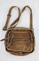 Garage Brown Faux Leather Cross Body Small  Saddlebag Purse Bag