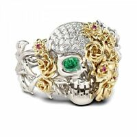 Skull Ring Emerald Women Punk Goth Girls Two Tone Flower Fashion Unique Jewelry