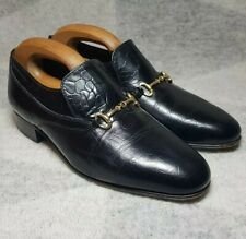 Grenson Snaffle Bit Loafers Size 7 Slip On Mens Black Leather Shoes VGC